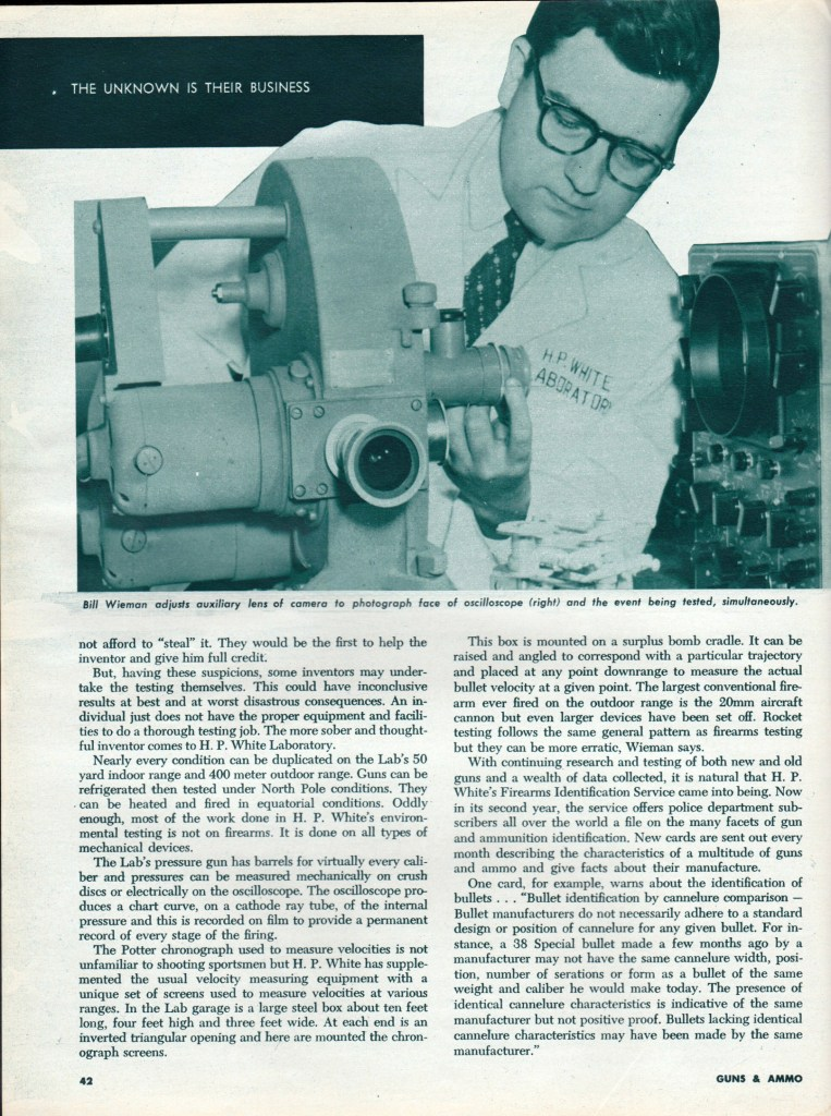 Guns & Ammo, December 1959 issue with article on the White & Munhall Laboratory