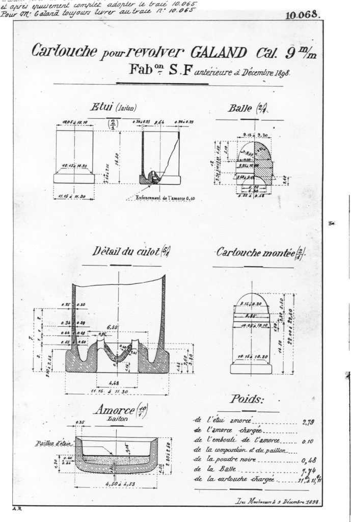 9mm Galand Technical Specifications made by Société Française des Munitions