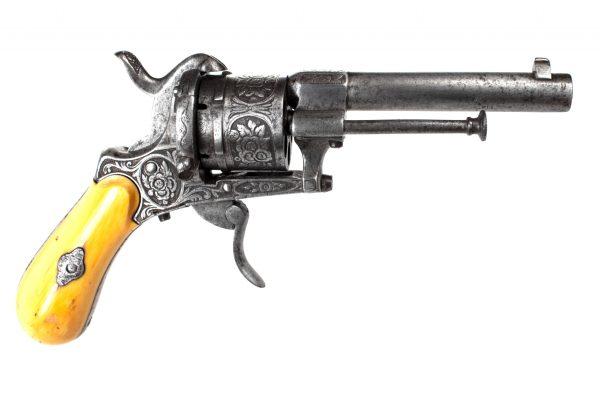Engraved Belgian Pinfire Revolver
