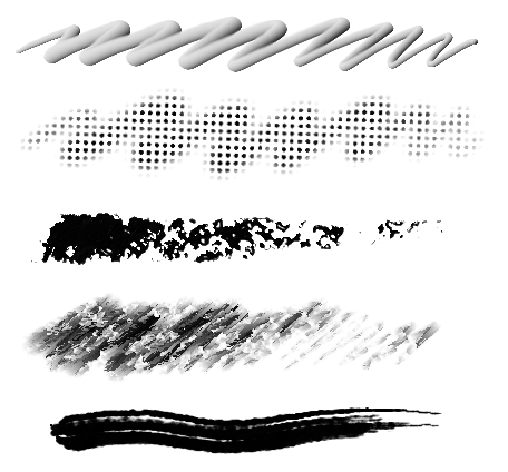 sample strokes from my custom corel painter brushes