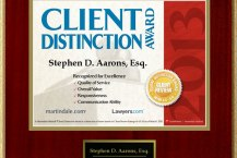 2013 Client Distinction Award Martindale, Stephen D Aarons