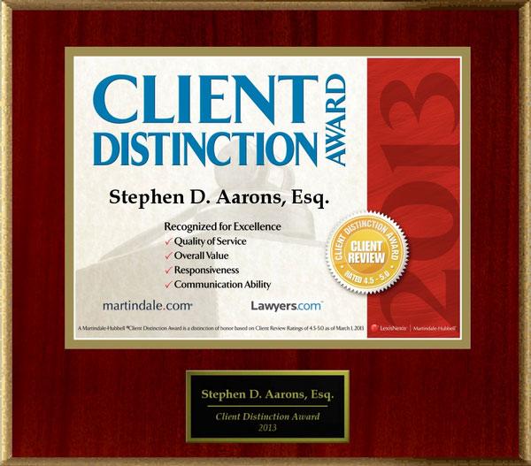 2013 Client Distinction Award Martindale, Stephen D Aarons