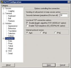 PuTTy settings for insuring connection stays up.
