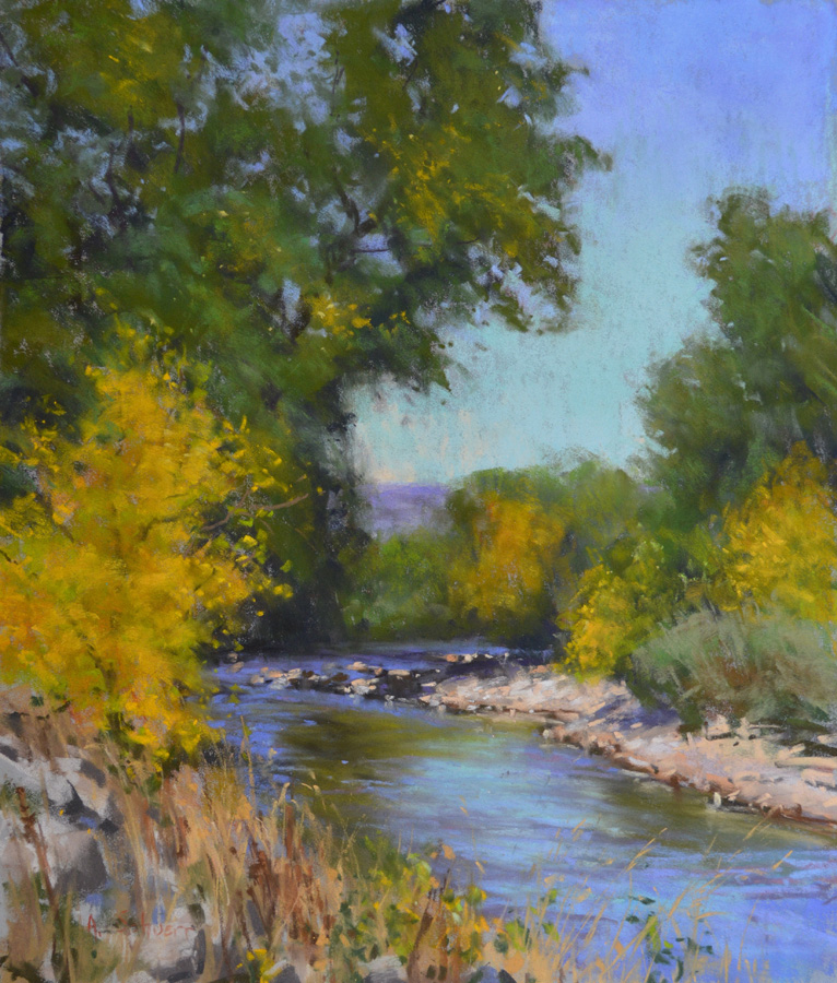 """Cache La Poudre River"" 14x12, pastel."