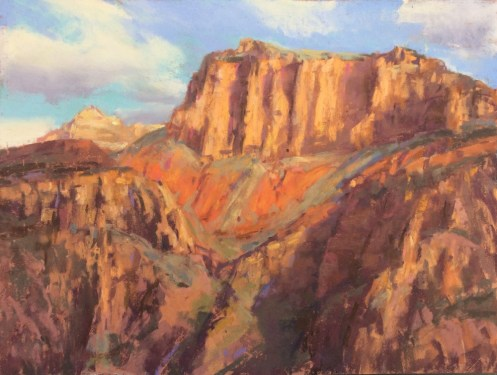 """Mile 14: Colorado Cliffs"" 11x14, pastel."