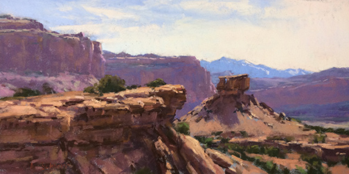 """""""The Layers of Capital Reef"""" 8x16, pastel"""