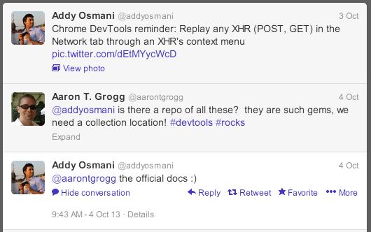 Twitter conversation about DevTools documentation