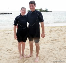 Aaron and Diane Traffas in wet suits