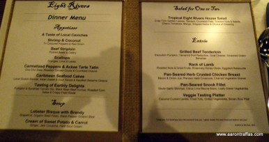 Menu at the Eight Rivers