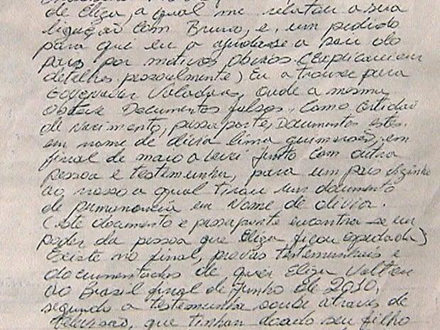 Carta utilizada pela defesa do Goleiro Bruno (Foto: Reprodução)