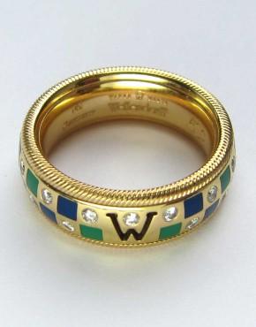 Art Deco Diamantring Weissgold 585 3 Diamanten ca 1