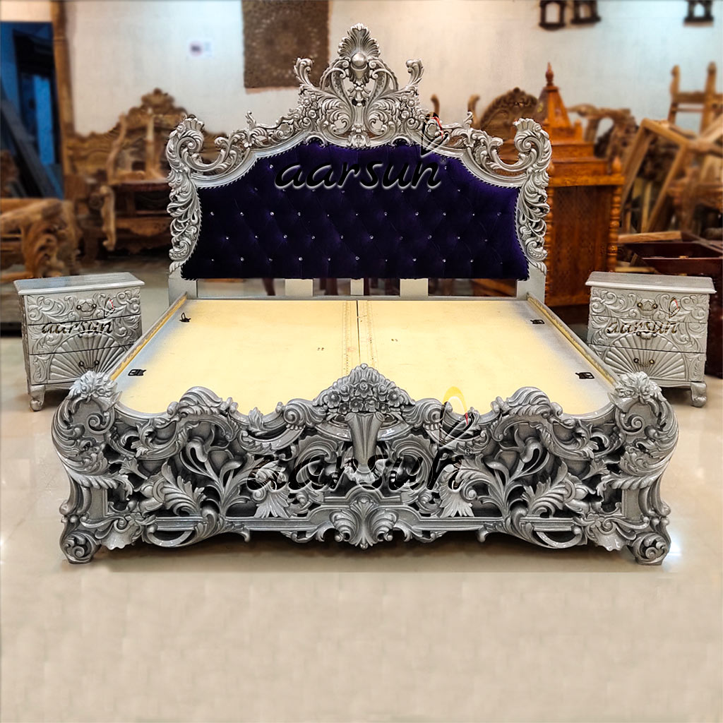 Silver Bed Design Solid Quality Wood Yt 232