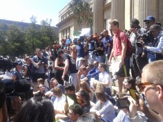 The group of #TakeBackWits students staged their silent protest, and were then met by #FeesMustFall students. Photo: Aarti Bhana