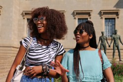 """Tshiunza says you got to love what you wear because fashion is an extention of yourself, and for Mosiane (right) """"everyday is slay day"""". Photo: Aarti Bhana"""