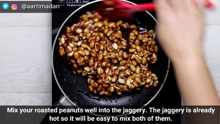Peanut Chikki Recipe - Step9 - Mix well