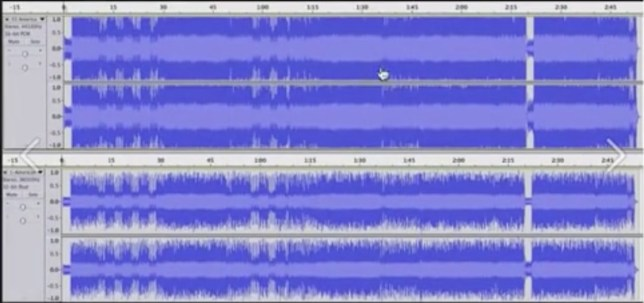 Loudness war: Top image: mastered on CD. Below: the original music.