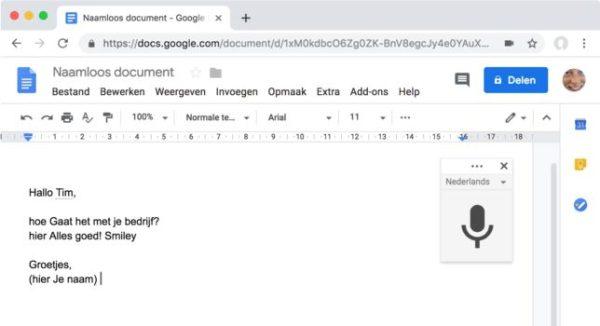 dicteren spraakgestuurd typen Android Chrome google apple iOS interpunctie