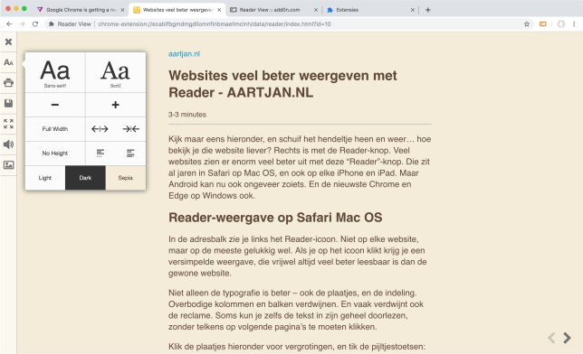 Chrome reader view extension