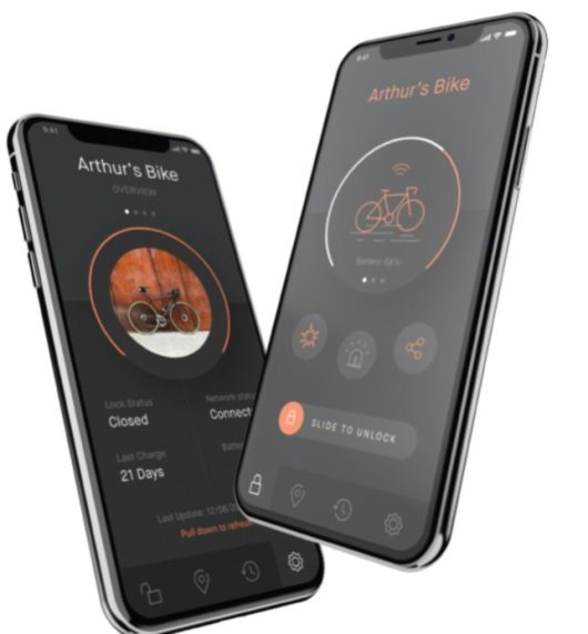 Sentinel fietsslot met GPS, track & trace en sharing app