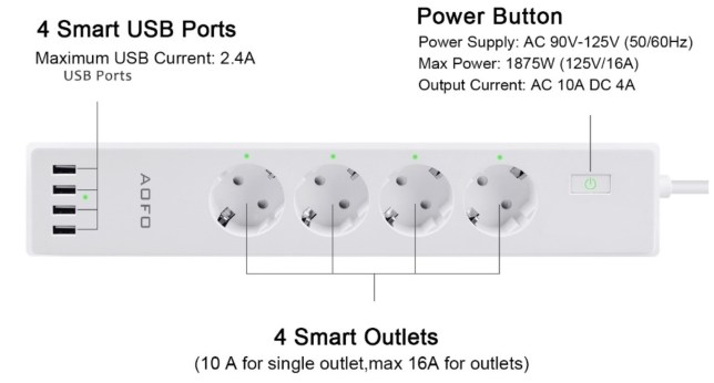 wifi smart home verdeelstekker met 4 USB
