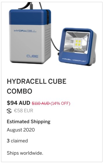 Hydracell Combo inclusief lamp stroom uit zout water