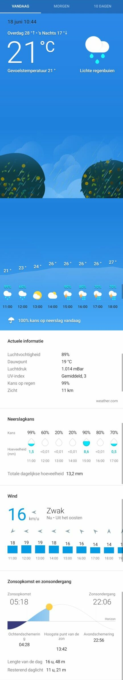 beste weer app google android ios