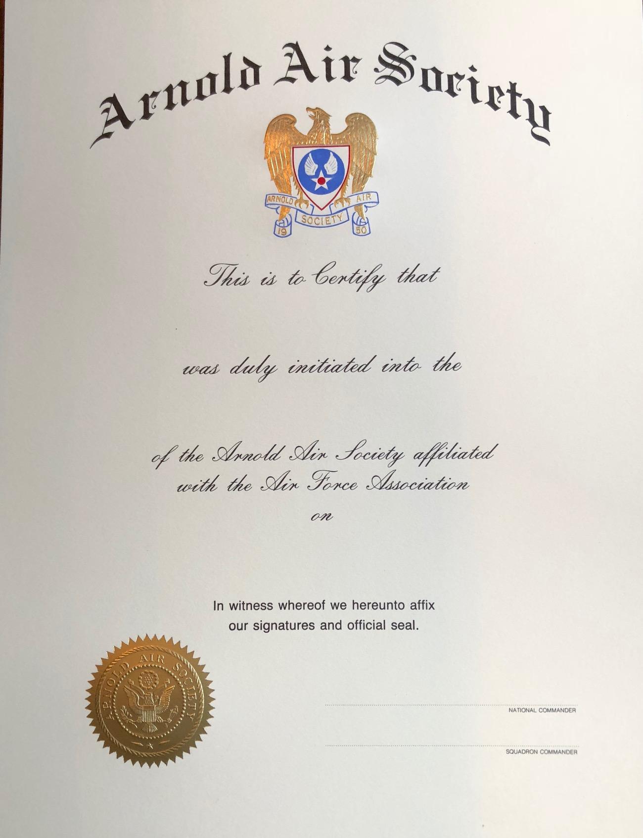 14aa070d029 Arnold Air Society   Silver WingsAAS Membership Certificate