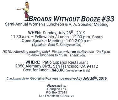 Broads without Booze   Sunday, July 28