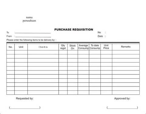 Purchase Requisition Form  Format Of Purchase Order Form