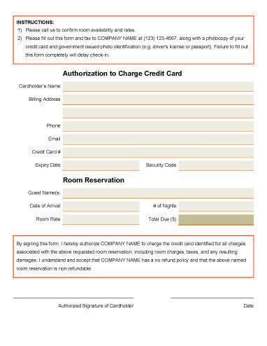 credit card authorization doc