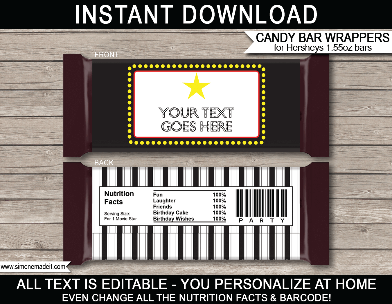 hershey wrapper template free