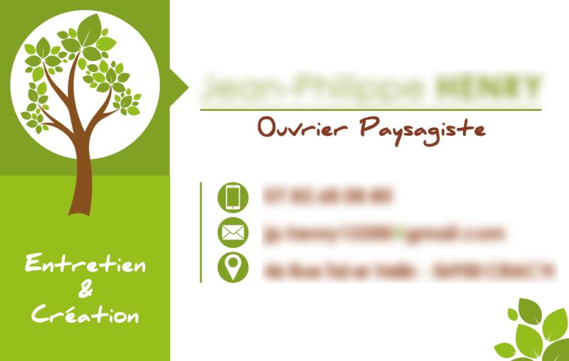 carte de visite - ouvrier paysagiste