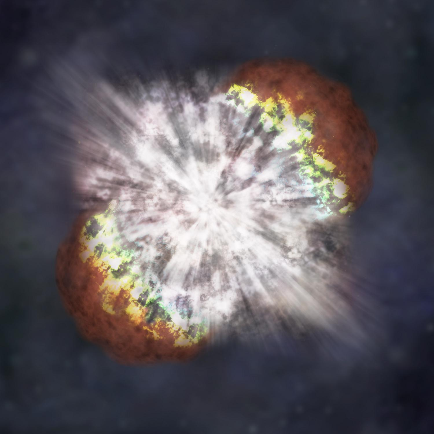 Artist's depiction of an energetic explosion known as a superluminous supernova. [NASA]