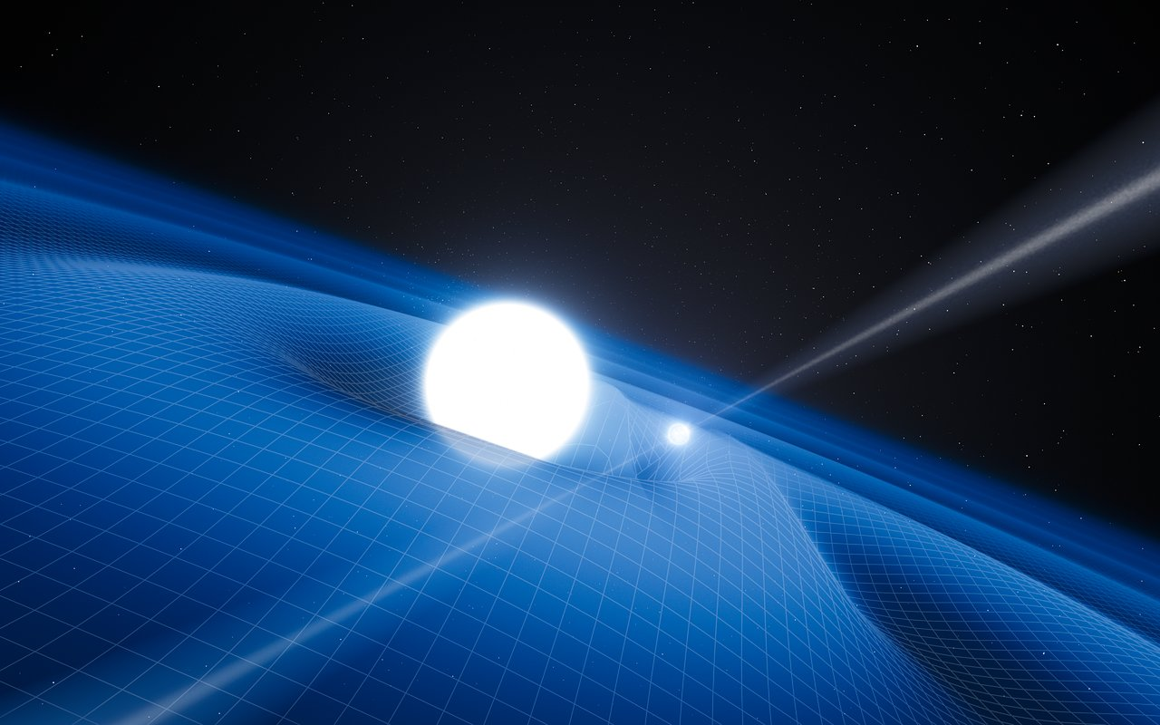 Artist's illustration of a binary consisting of a white dwarf and a pulsar (not drawn to scale — the pulsar would actually be even smaller than shown here!). [ESO / L. Calçada]