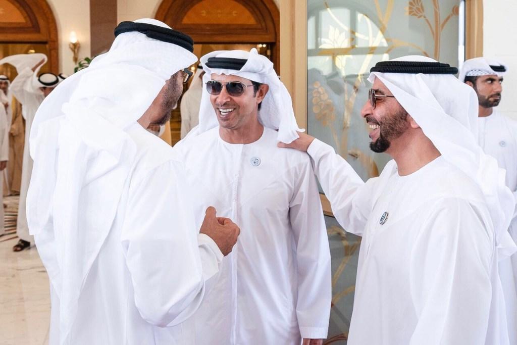محمد بن زايد و حمدان بن زايد و هزاع بن زايد لقطات خاصة