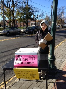 An exit poll volunteer at a poll site in Fort Lee, New Jersey. Courtesy of AALDEF