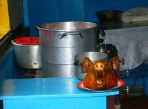 Pig's head in Chifa restaurant in Ecuador.