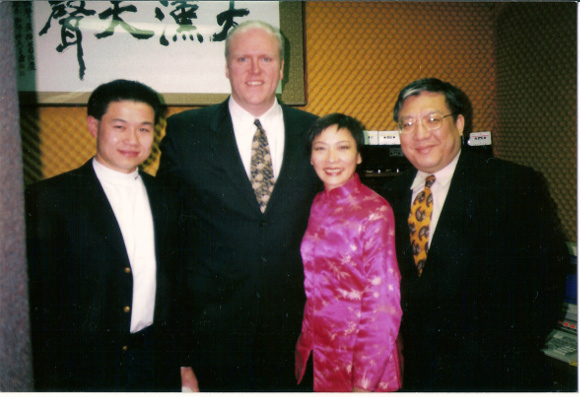 Richard Hsueh with elected officials: John Liu (left), Joseph Crowley (middle left), Ellen Young (middle right). Photo courtest of Richard Hsueh
