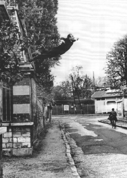 Yves Klein, photographed by Harry Shunk and Janos Kender. Leap into the Void (1960). Gelatin silver print. 25.9 x 20 cm. The Metropolitan Museum of Art.
