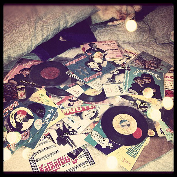 A collection of 45s and album artwork from Hun's collection. Photo courtesy of Nate Hun.