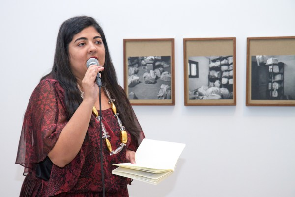 Swati Khurana reading at the Queens Museum on August 30. Photo by Preston Merchant.