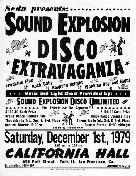 A flyer Sound Explosion's Disco Extravaganza on December 1, 1979. Courtesy Rafael Restauro