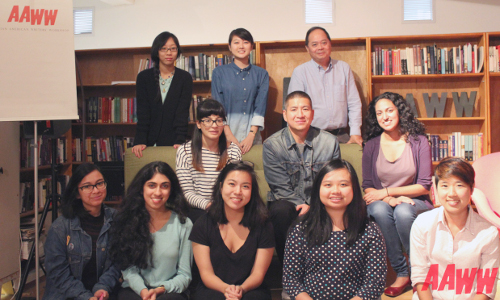 Eric Tang (second row, second from left) with the staff and interns of the Asian American Writers' Workshop.