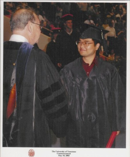 Jong-Min during graduation ceremonies at the University of Tennessee in 2003