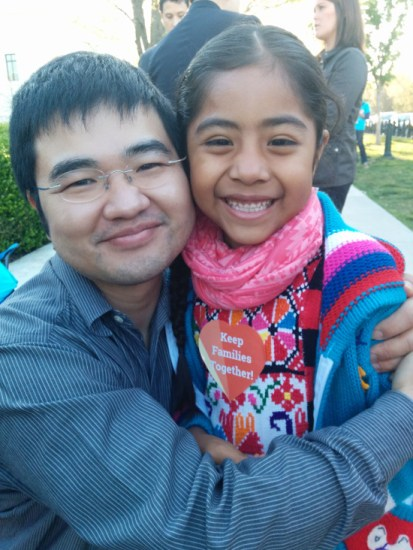 Caption for photo: Jong-Min with Sophie Cruz, a Mexican-American child of undocumented parents, outside the Supreme Court on April 18.