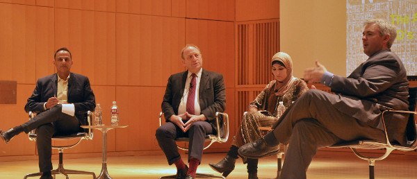 Writer and academic Moustafa Bayoumi, former AP editor Michael Oreskes and Arab American activist Linda Sarsour listen to Apuzzo during the discussion at the CUNY Graduate Center.