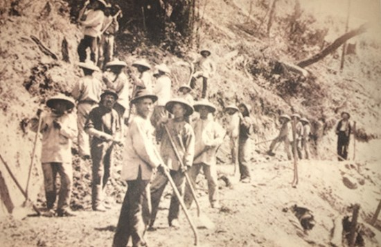 Some of the Chinese workers who built the Central Pacific Railroad in the mid-19th Century. From Golden Spike
