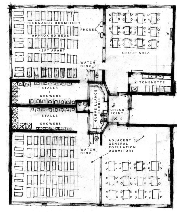 floorplan of a section of a carceral space