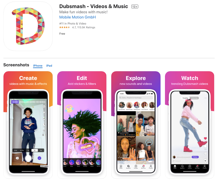 Dubsmash is most widely known for the lip sync videos that users can create of popular songs and other audio clips.