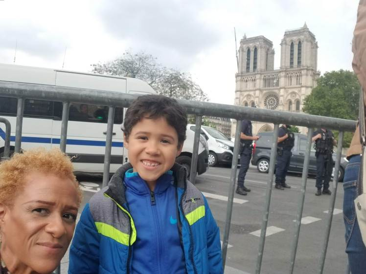 In front of Notre Dame with my son Paris May 2019